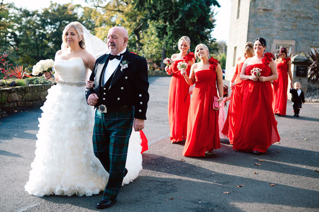 Bride and Father with Bridesmaids Leaving for Ceremony