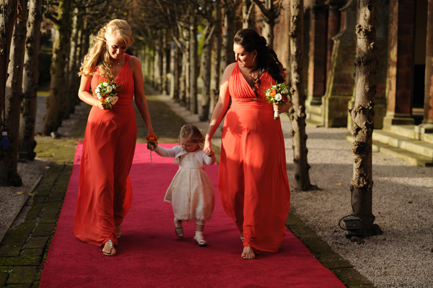 Bridesmaids and Flower Girl Going to Ceremony