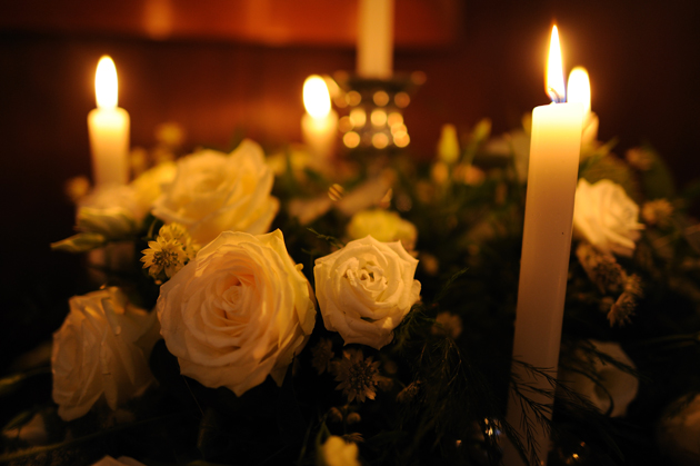 Wedding Reception Tables Roses and Candle Decor