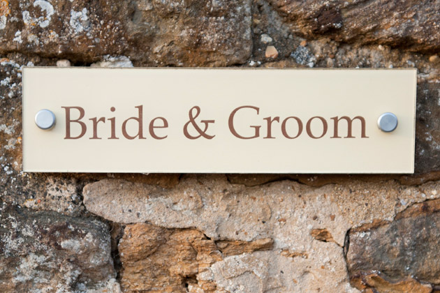 Bride & Groom Plaque at Dodmoor House