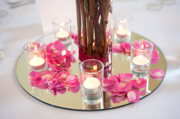 Wedding Table Centrepiece Mirror Candles and Pink Confetti