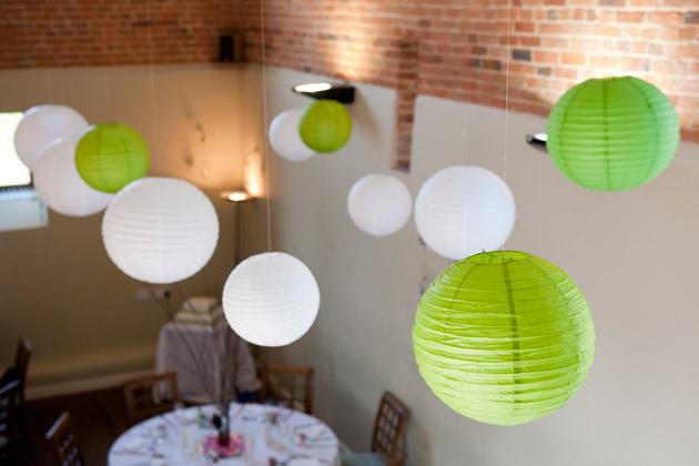 White & Green Lanterns Decor at Dodmoor House