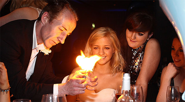 Wedding magician entertainment with flames