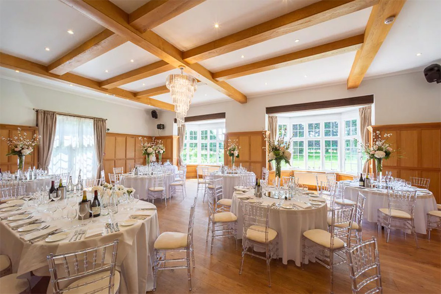 Countryside Wedding Venues - Bijou Wedding Venue in Berkshire - Luxury Wedding Reception Set Up at Silchester House - Silchester House Music Room Set Up for a Wedding Reception   Confetti.co.uk