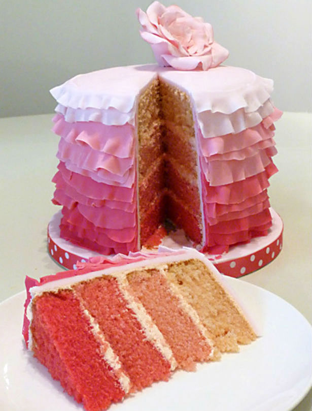 Frilly Pink Wedding Cake by Little Touches