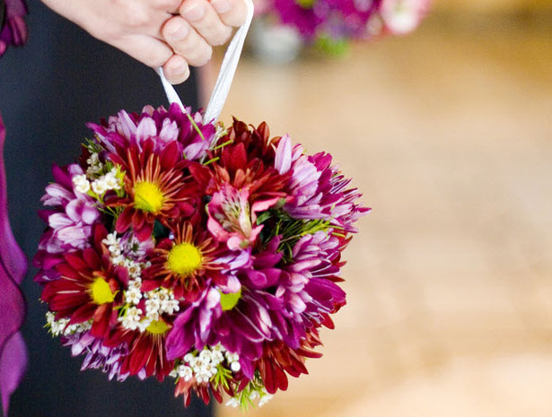Red and yellow flowered pomander bouquet