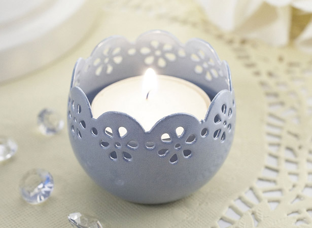 Blue themed candle holder