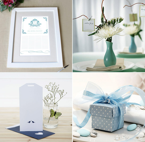 Blue themed personalised signature certificate with frame favour vases and box and large insert tag