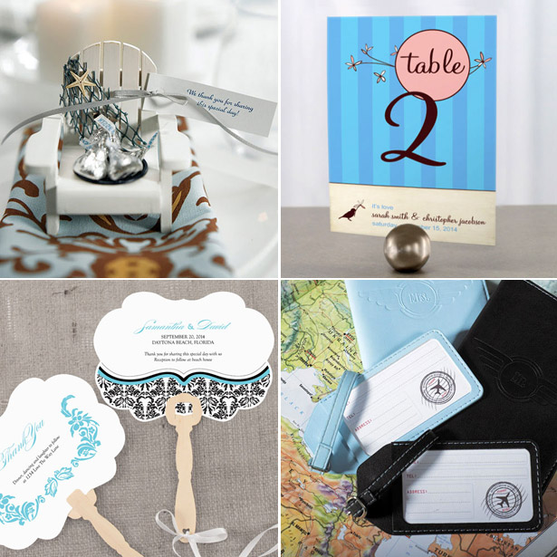Blue-themed deck chair candle holders table number Mr and Mrs luggage tags and hand fan with decorative shape