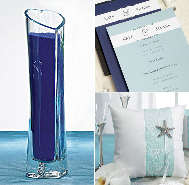 Blue themed sand glass invitations and ring pillow