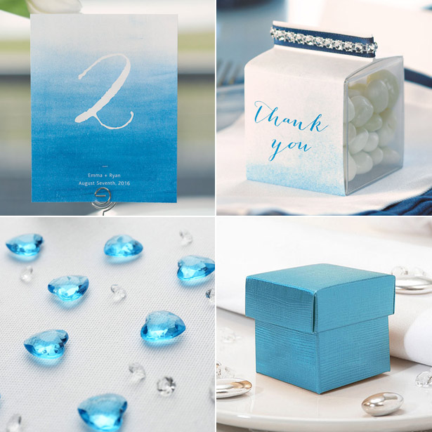 Blue themed table number favour boxes and diamante table gems