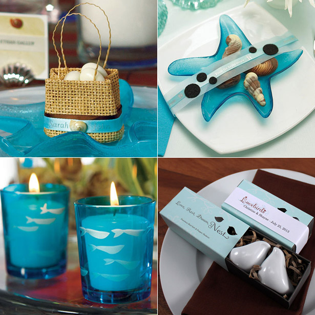 Blue themed woven beach bag glass candle holders salt and pepper shakers in a gift package and glass fish tea light holder