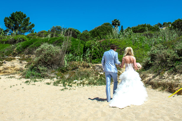 The newlyweds leaving the ceremony