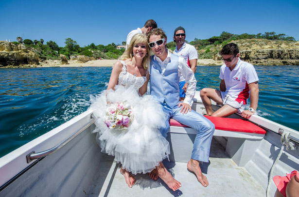 Bride and groom on the boat