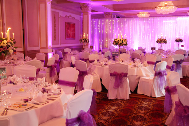 Pink and purple reception decor
