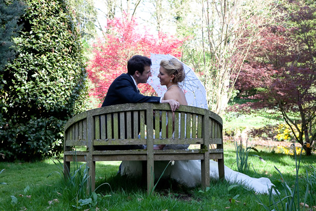 Joanna and Tristan photography bride and groom in garden