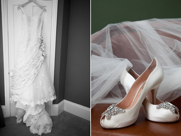 White Bridal Dress And Shoes