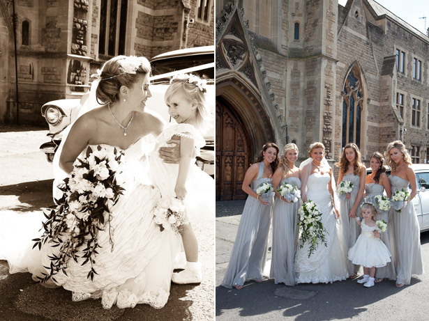 Bride and Bridesmaids and Flower Girl