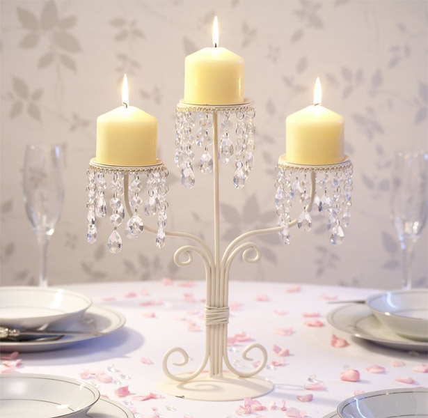 Cream and crystal 3-stem candle stand