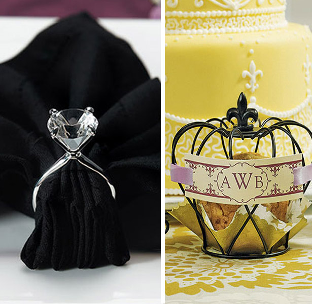 Silver Plated Diamond Napkin Holders, Small Matte Black Wire Crown Wedding Favour