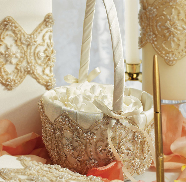 Cream and gold jewelled Beverly Clark Flower Girl Basket