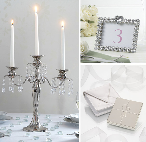 Silver & Crystal Medium Candelabra, ornate jewelled heart photo frame, Vera Wang Love Knots Compact Mirror