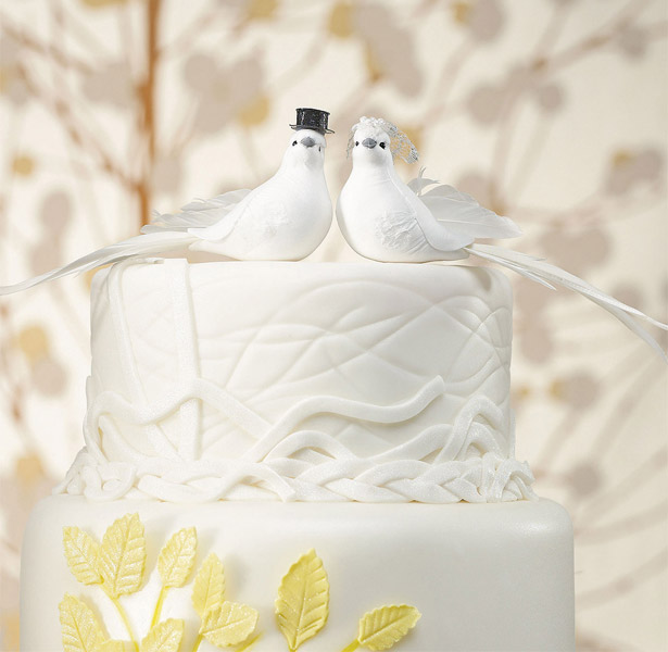 Bride and Groom Cake Topper Wedding Doves