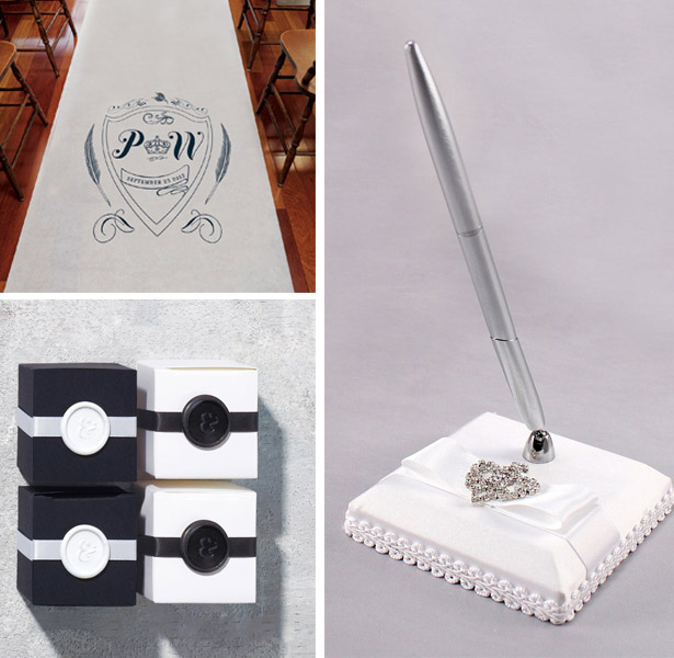 Regal Monogram Personalised Aisle Runner, Ampersand Flexible Wax Seals and Beverly Clarke The Crowned Jewel Collection Pen and Base
