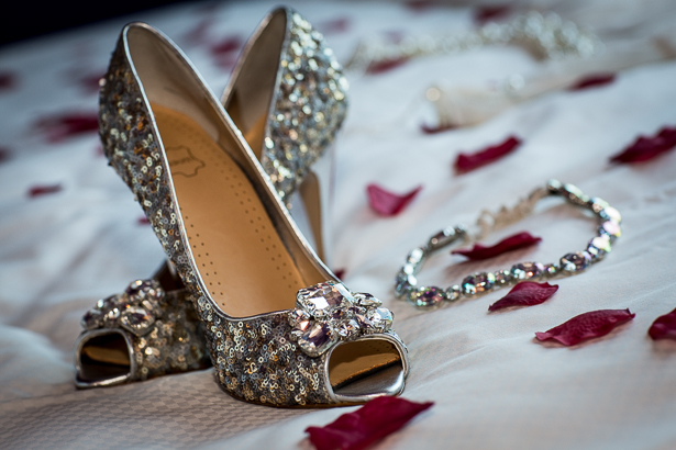 Gold sequined pep toe shoes