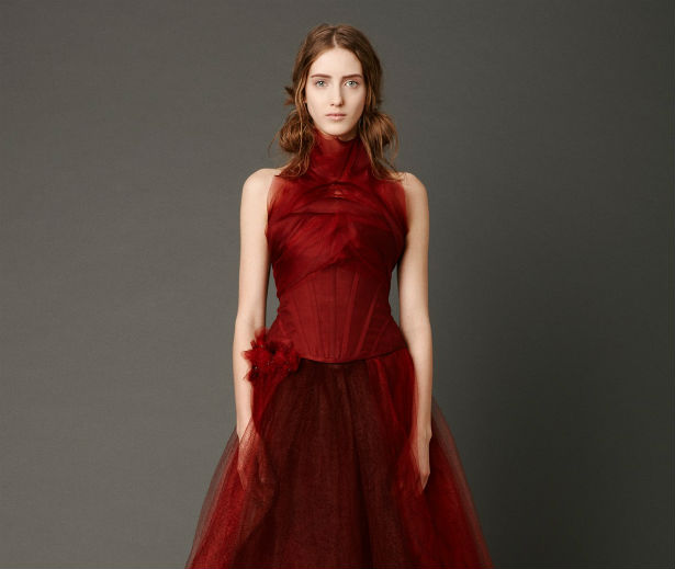 A red dress designed by Vera Wang