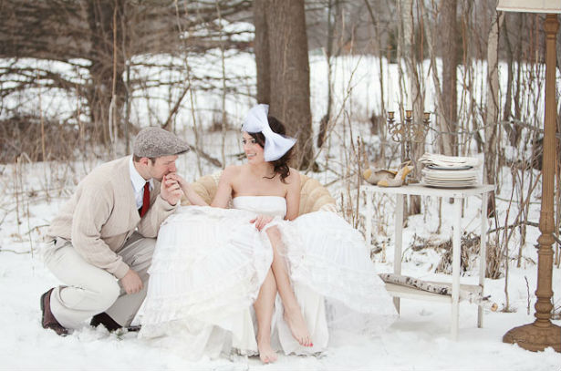 An image of a winter wedding bow from GreenWeddingShoes.com