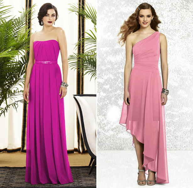 pink dresses by dessy