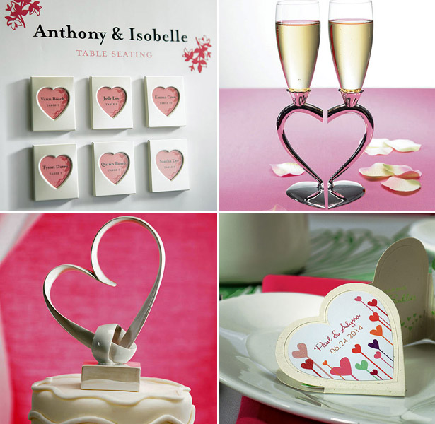 Heart themed wedding accessories