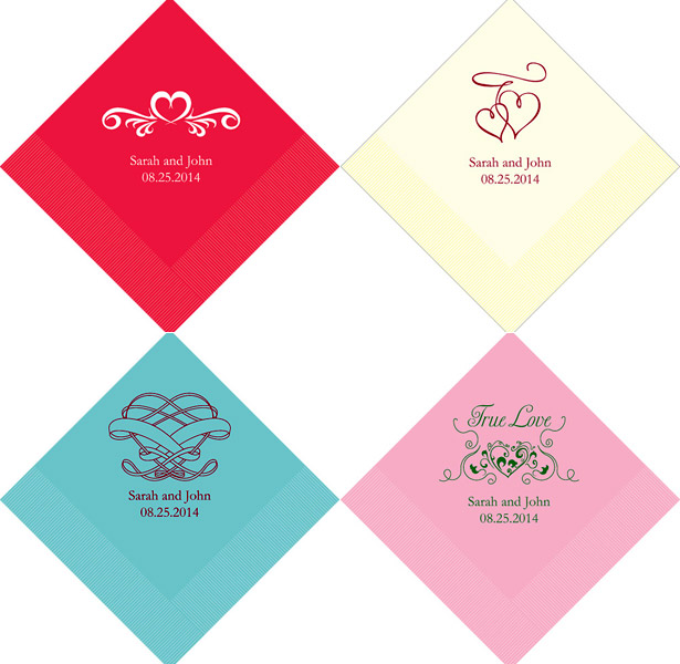 Personalised heart wedding napkins