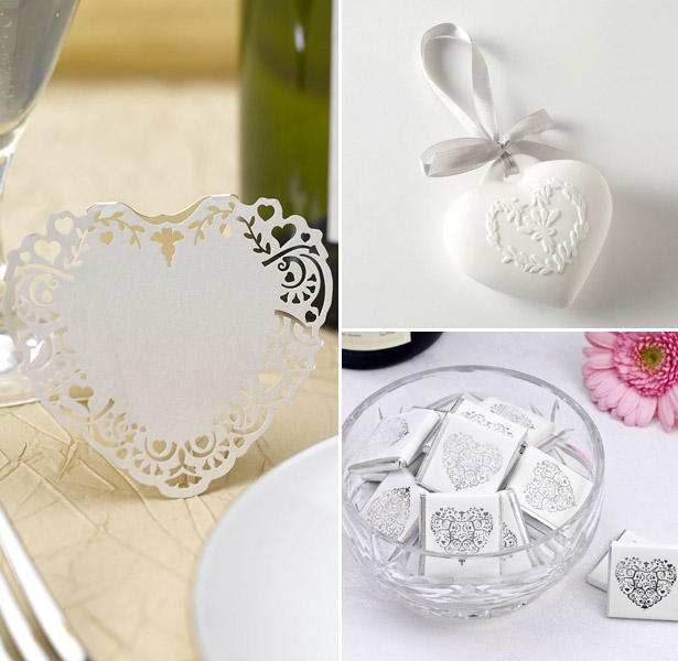 Heart shaped wedding favours and accessories