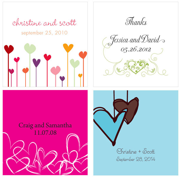 Personalised heart wedding favour tags