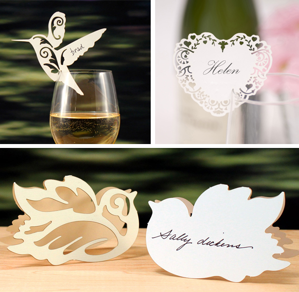 moodboard laser cut name cards birds heart