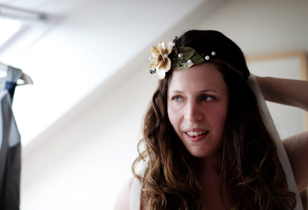 Bride wearing a head piece