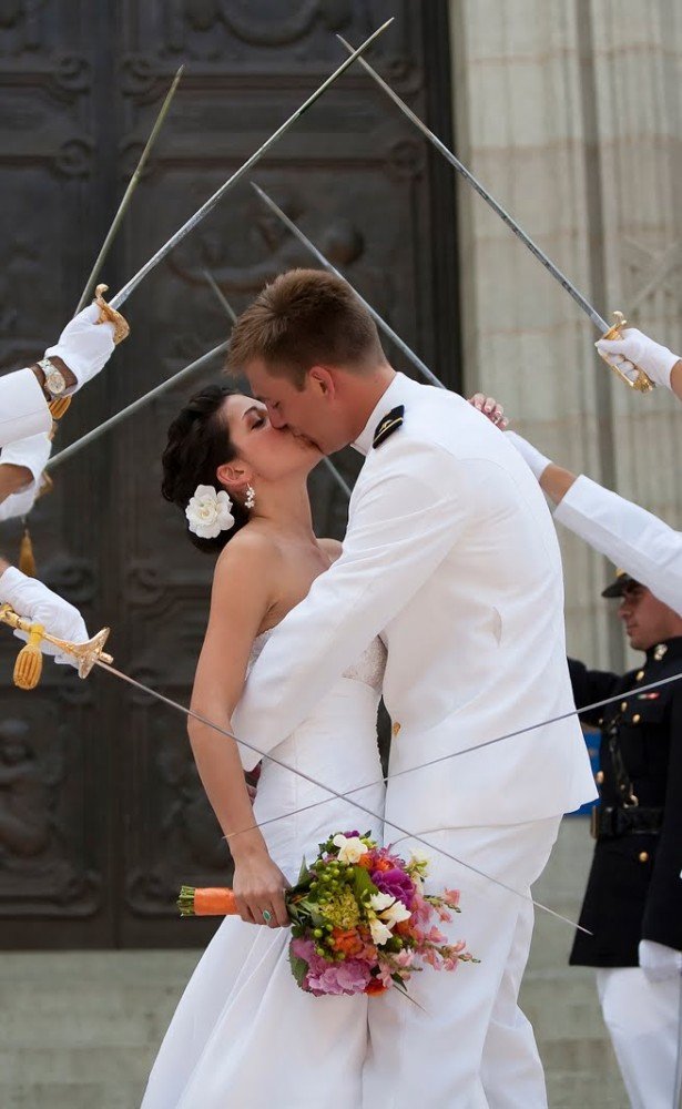 honour guard marriage kiss steel