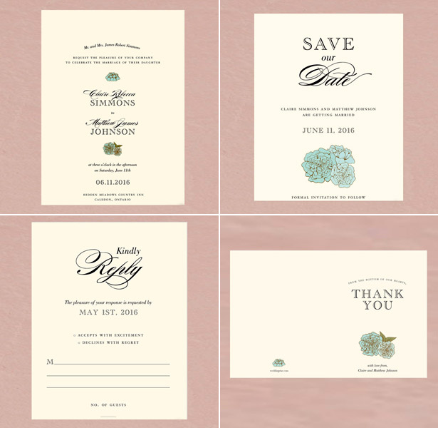 RSVP pink wedding invitations