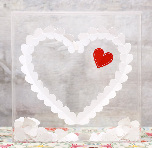 love heart transparent acrylic shadow box