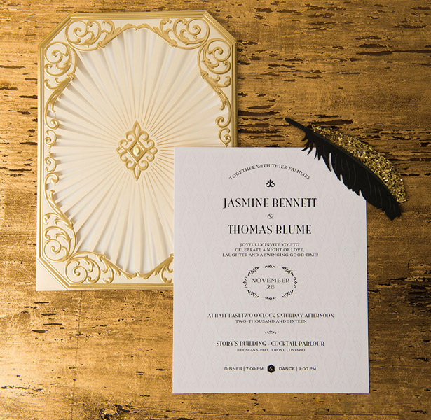 Gold and cream laser decorated wedding invitation