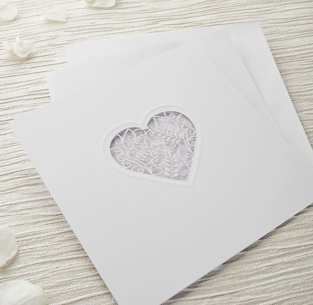 White laser heart wedding invitation