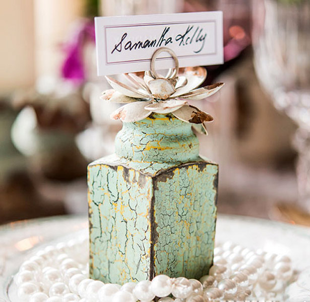 rustic place card holder mint green