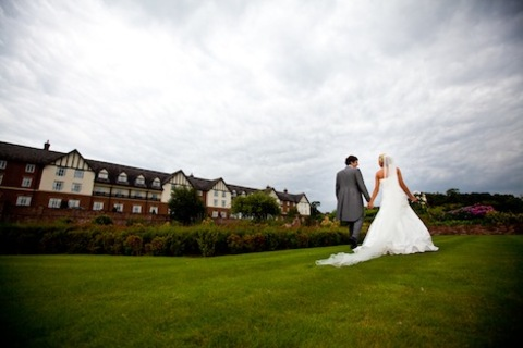 Carden Park Hotel Bride and Groom outside Wedding Venue