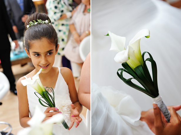 Flower girl with lily bouquet