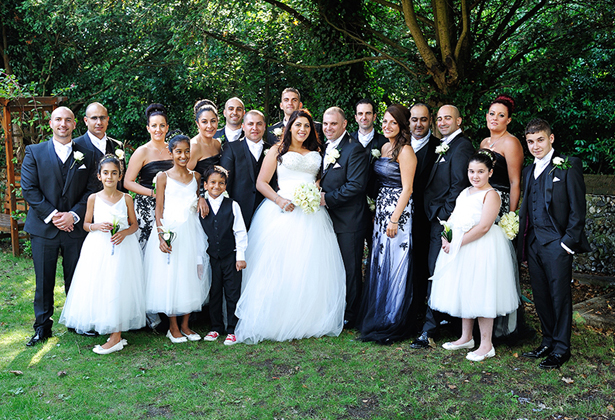 Newlyweds with their family
