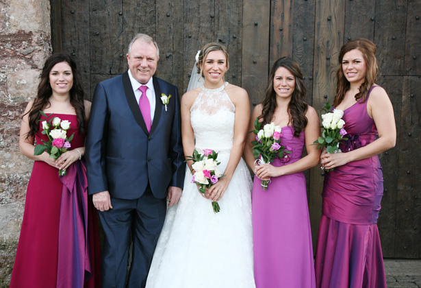 The bride with her father and bridesmaids