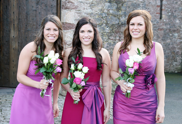 Smiling bridesmaids and maid of honour