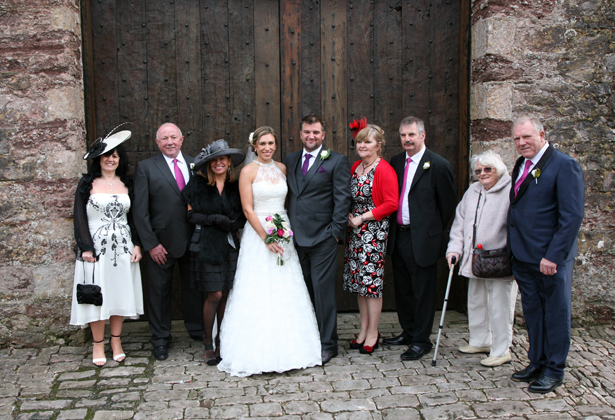 The happy couple with their family